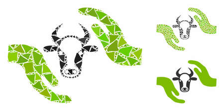 Cow protection hands composition of ragged parts in various sizes and color tones, based on cow protection hands icon. Vector ragged items are organized into collage. 向量圖像