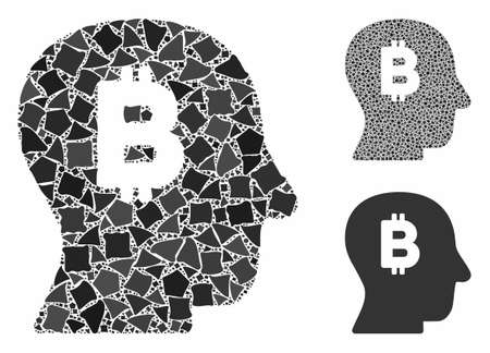 Bitcoin mind composition of raggy elements in variable sizes and color hues, based on Bitcoin mind icon. Vector raggy dots are united into collage. Bitcoin mind icons collage with dotted pattern.