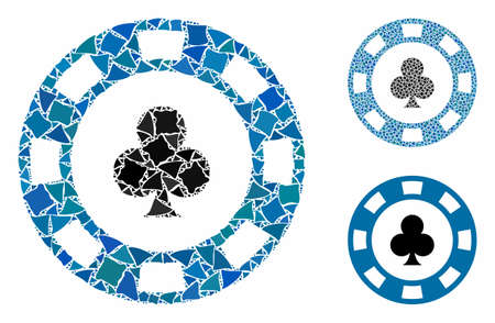Clubs casino chip mosaic of bumpy parts in variable sizes and color hues, based on clubs casino chip icon. Vector raggy parts are grouped into mosaic. Ilustração