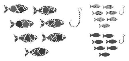 Fish hook composition of rough pieces in different sizes and shades, based on fish hook icon. Vector ragged pieces are composed into collage. Fish hook icons collage with dotted pattern.