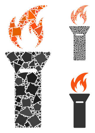 Torch flame composition of irregular elements in various sizes and color tints, based on torch flame icon. Vector uneven elements are combined into collage.