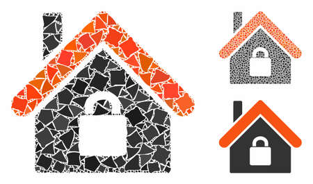 Locked apartment composition of inequal pieces in various sizes and color tones, based on locked apartment icon. Vector uneven dots are organized into composition.