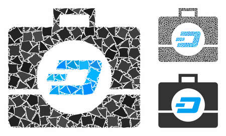 Dash business case composition of joggly pieces in various sizes and color tinges, based on Dash business case icon. Vector tremulant pieces are grouped into collage.