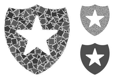 Guard shield composition of inequal items in variable sizes and color tones, based on guard shield icon. Vector uneven items are combined into composition.