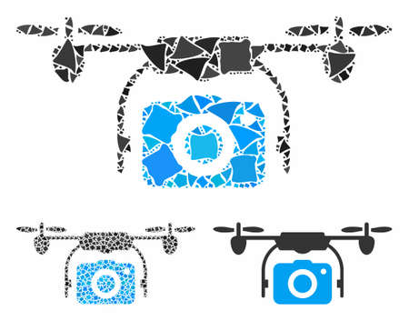 Camera drone composition of ragged elements in variable sizes and shades, based on camera drone icon. Vector joggly elements are composed into collage. Camera drone icons collage with dotted pattern.