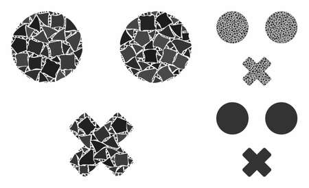 Mute smiley mosaic of rugged pieces in different sizes and color tones, based on mute smiley icon. Vector raggy pieces are combined into mosaic. Mute smiley icons collage with dotted pattern.