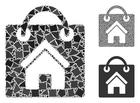 Buy home mosaic of raggy pieces in variable sizes and color tints, based on buy home icon. Vector tuberous pieces are united into mosaic. Buy home icons collage with dotted pattern.