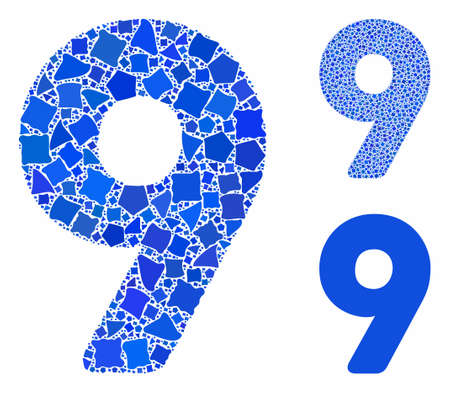 9 digit mosaic of abrupt pieces in various sizes and shades, based on 9 digit icon. Vector unequal parts are united into collage. 9 digit icons collage with dotted pattern.