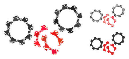 Gears damage mosaic of raggy elements in variable sizes and color tints, based on gears damage icon. Vector rough elements are composed into mosaic. Gears damage icons collage with dotted pattern.