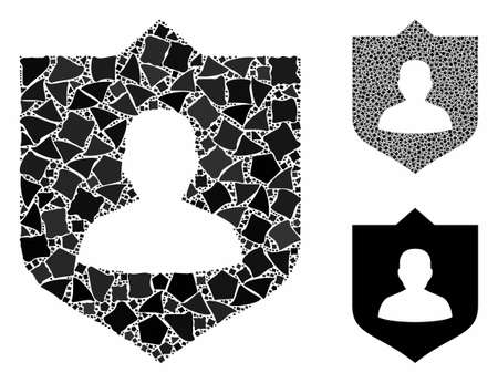 Lord shield composition of irregular elements in different sizes and color hues, based on lord shield icon. Vector rugged elements are united into composition. Illustration