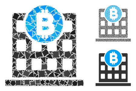 Bitcoin office building mosaic of unequal elements in different sizes and color tones, based on Bitcoin office building icon. Vector humpy elements are organized into collage.