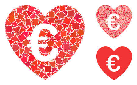 Euro love heart mosaic of bumpy parts in various sizes and color tinges, based on Euro love heart icon. Vector unequal parts are grouped into illustration.