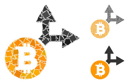 Bitcoin fork mosaic of unequal parts in various sizes and color tints, based on Bitcoin fork icon. Vector humpy parts are united into mosaic. Bitcoin fork icons collage with dotted pattern.