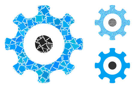 Gear mosaic of humpy elements in various sizes and color tints, based on gear icon. Vector abrupt elements are composed into mosaic. Gear icons collage with dotted pattern.