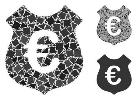 Euro security composition of joggly elements in variable sizes and shades, based on Euro security icon. Vector joggly items are organized into collage. Euro security icons collage with dotted pattern.