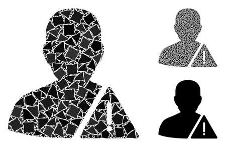 User warning mosaic of bumpy pieces in different sizes and shades, based on user warning icon. Vector bumpy pieces are grouped into mosaic. User warning icons collage with dotted pattern. Ilustração