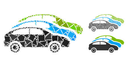 Traffic cars mosaic of rough elements in different sizes and color tinges, based on traffic cars icon. Vector irregular elements are united into mosaic. Traffic cars icons collage with dotted pattern.