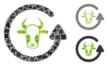 Refresh bull composition of tuberous elements in various sizes and color tones, based on refresh bull icon. Vector unequal elements are grouped into collage.