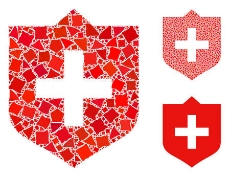 Shield mosaic of uneven elements in various sizes and color tinges, based on shield icon. Vector rough dots are united into mosaic. Shield icons collage with dotted pattern.