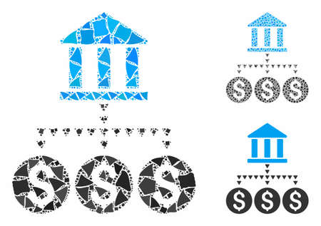 Bank structure composition of joggly parts in variable sizes and color tints, based on bank structure icon. Vector joggly items are organized into collage.