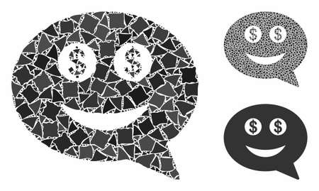 Millionaire smiley message composition of inequal items in different sizes and color tints, based on millionaire smiley message icon. Vector uneven items are organized into illustration.
