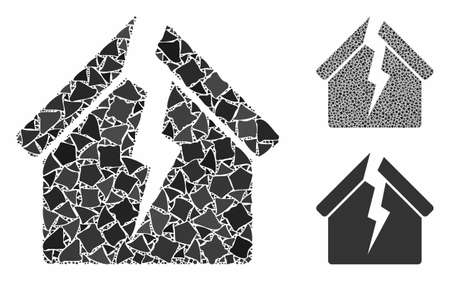 Housing crisis mosaic of raggy parts in variable sizes and shades, based on housing crisis icon. Vector raggy items are grouped into mosaic. Housing crisis icons collage with dotted pattern.