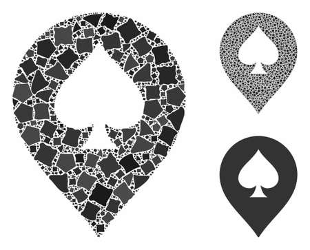 Spade casino marker composition of joggly items in different sizes and color tones, based on spade casino marker icon. Vector irregular items are combined into collage.