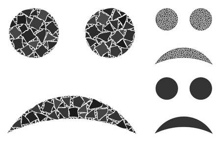 Sad smiley composition of unequal elements in different sizes and color hues, based on sad smiley icon. Vector humpy elements are combined into collage. Sad smiley icons collage with dotted pattern. Ilustração