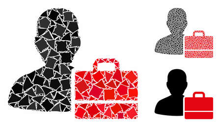 Accounter mosaic of tuberous pieces in different sizes and color tints, based on accounter icon. Vector tremulant pieces are grouped into collage. Accounter icons collage with dotted pattern. 일러스트