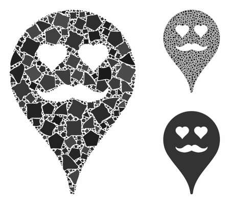 Lover smiley map marker mosaic of unequal elements in various sizes and color tinges, based on lover smiley map marker icon. Vector uneven elements are combined into mosaic. Stock Illustratie