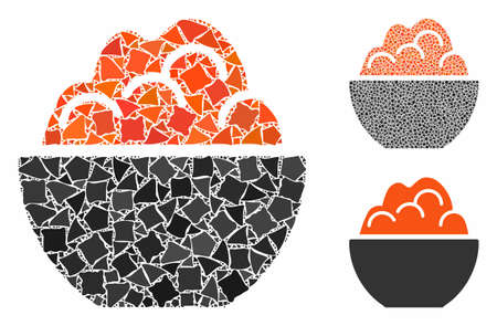Porridge mosaic of joggly items in different sizes and color tinges, based on porridge icon. Vector trembly items are organized into collage. Porridge icons collage with dotted pattern.