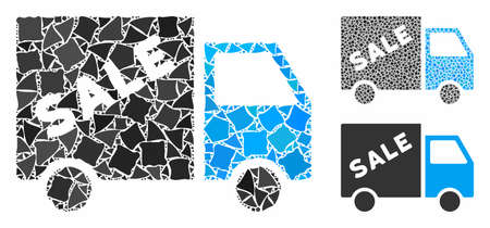 Sale truck mosaic of trembly elements in different sizes and color hues, based on sale truck icon. Vector inequal parts are united into mosaic. Sale truck icons collage with dotted pattern.
