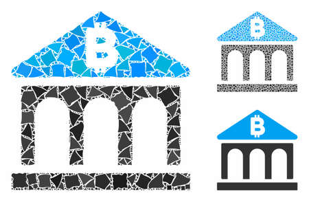 Bitcoin bank building mosaic of rough elements in different sizes and color tints, based on Bitcoin bank building icon. Vector irregular elements are grouped into collage.
