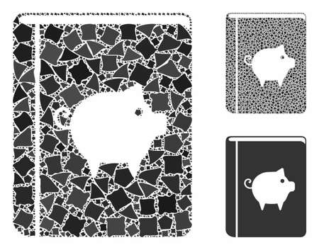 Pig handbook composition of abrupt items in different sizes and color tones, based on pig handbook icon. Vector unequal items are united into collage. Pig handbook icons collage with dotted pattern. Ilustrace
