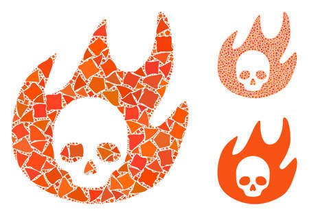 Hell fire composition of tuberous parts in various sizes and color tinges, based on hell fire icon. Vector tuberous dots are composed into composition. Hell fire icons collage with dotted pattern.