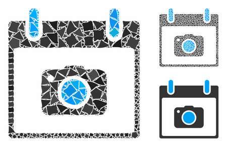 Photo camera calendar day mosaic of tremulant items in variable sizes and color hues, based on photo camera calendar day icon. Vector abrupt items are combined into mosaic.