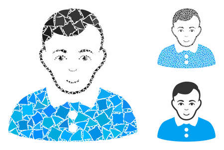 Boy mosaic of rough elements in various sizes and color tones, based on boy icon. Vector bumpy elements are grouped into mosaic. Boy icons collage with dotted pattern. Archivio Fotografico - 133249392