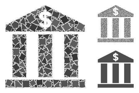 Bank building mosaic of tremulant parts in variable sizes and shades, based on bank building icon. Vector tremulant dots are composed into mosaic. Bank building icons collage with dotted pattern.