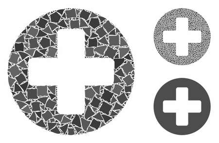 Medical rounded cross composition of trembly items in different sizes and shades, based on medical rounded cross icon. Vector unequal items are grouped into collage.