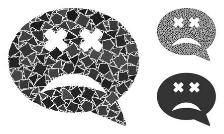 Blind smiley message composition of abrupt parts in different sizes and color tinges, based on blind smiley message icon. Vector trembly parts are grouped into composition.