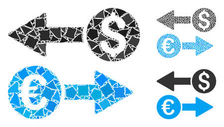 Currency transfers mosaic of tremulant parts in different sizes and color tinges, based on currency transfers icon. Vector uneven parts are organized into mosaic. Ilustrace