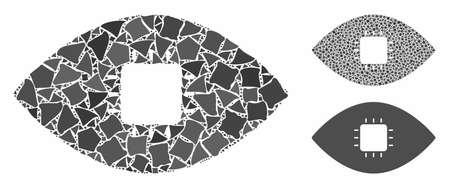 Chip eye retina mosaic of ragged parts in different sizes and color tints, based on chip eye retina icon. Vector uneven pieces are grouped into mosaic.