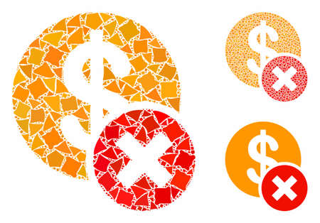 Wrong dollar composition of abrupt parts in different sizes and shades, based on wrong dollar icon. Vector humpy parts are composed into composition. Wrong dollar icons collage with dotted pattern. Illustration