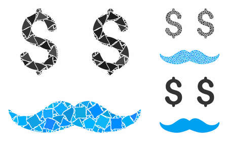 Millionaire mustache composition of trembly items in various sizes and color tints, based on millionaire mustache icon. Vector unequal items are grouped into composition. Illustration