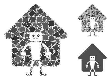 Home robot composition of unequal parts in variable sizes and color tints, based on home robot icon. Vector uneven parts are united into collage. Home robot icons collage with dotted pattern.