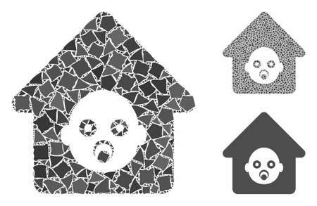Nursery house mosaic of unequal items in variable sizes and color tints, based on nursery house icon. Vector rough items are organized into collage. Nursery house icons collage with dotted pattern. Illustration