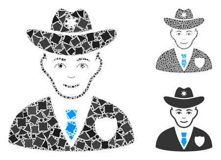 Sheriff mosaic of rough pieces in variable sizes and color tinges, based on sheriff icon. Vector raggy pieces are organized into collage. Sheriff icons collage with dotted pattern.