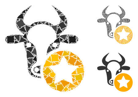 Cow favourites mosaic of abrupt items in different sizes and color hues, based on cow favourites icon. Vector humpy items are united into collage. Cow favourites icons collage with dotted pattern.