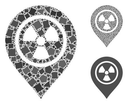 Radioactive marker mosaic of uneven parts in various sizes and color tinges, based on radioactive marker icon. Vector uneven parts are united into illustration.