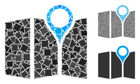 Paper map mosaic of abrupt elements in various sizes and shades, based on paper map icon. Vector bumpy dots are composed into mosaic. Paper map icons collage with dotted pattern. Ilustrace